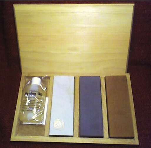 Three (3) Stone Novaculite Sharpening Kit /Oil & Box