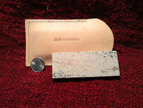 "Soft ARK Whetstone 4"" x 1.5"" x 1/2"" in Leather Pouch"